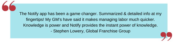 _The Notify app has been a game changer- Summarized & detailed info at my fingertips! My GM's have said it makes managing labor much quicker- Knowledge is power and Notify provides the instant power of Knowledge!_ (1)